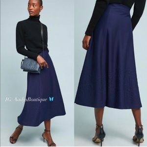 MAEVE BY ANTHROPOLOGIE MARIA KNIT SKIRT NAVY NEW